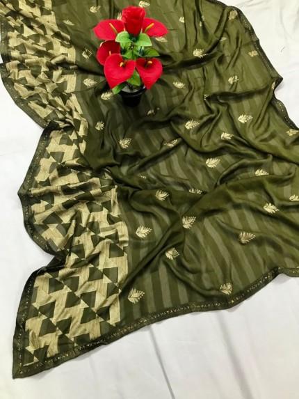 Green Beautiful Export Quality Imported Original Mashkali Prizim Foil Saree - gnp0108694