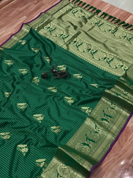 Green Jacquard Sona Chandi pure zari work saree by grabandpack