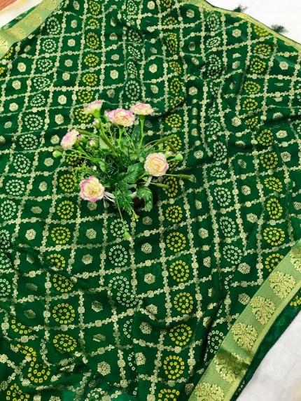 Stylish Green Marble Chiffon saree