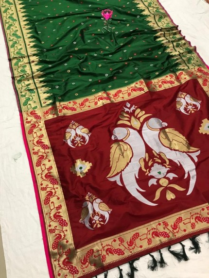 Green and Maroon Function Special Pethani Silk saree