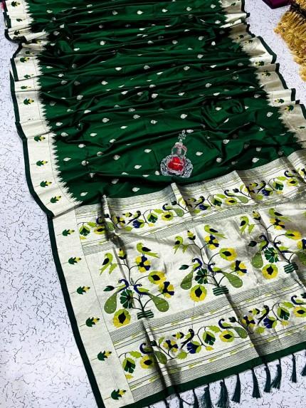 Green Pethani Silk Blend Festive Wear Saree