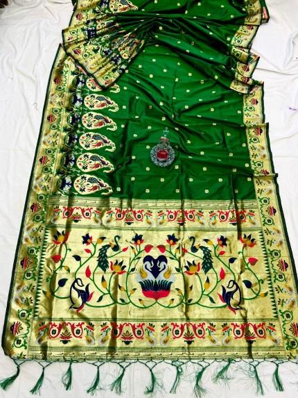 Green Pethani Silk Saree With Full Jacquard Weaving Big Border - gnp0108787