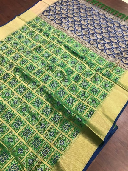 Green soft Banarasi Patola silk Saree at grabandpack