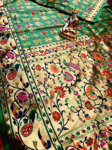 Green Soft Banarasi Silk Patola Saree