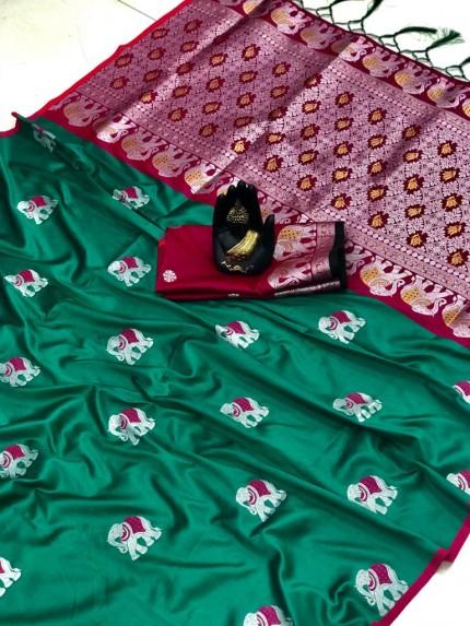 grabandpack Green Soft Lichi silk saree