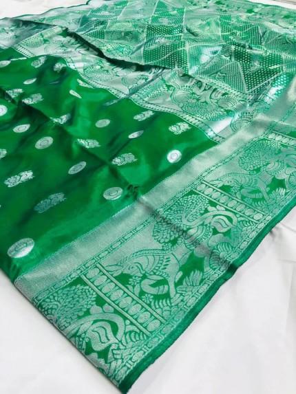 Printed Woven silk saree (green)