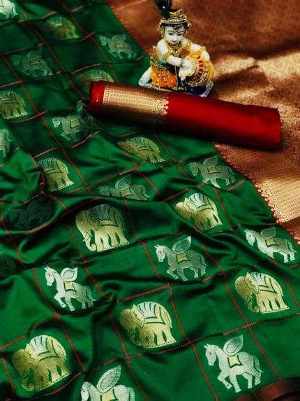 soft silk with gold and silver zari weaving work with rich look and rich pallu (Green)