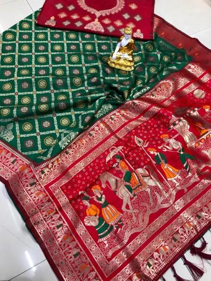 Green south indian silk saree blouse designs grabandpack