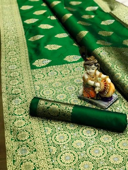 Green Super Soft Banarasi Silk Saree With Weaving Gold Jari - gnp00962