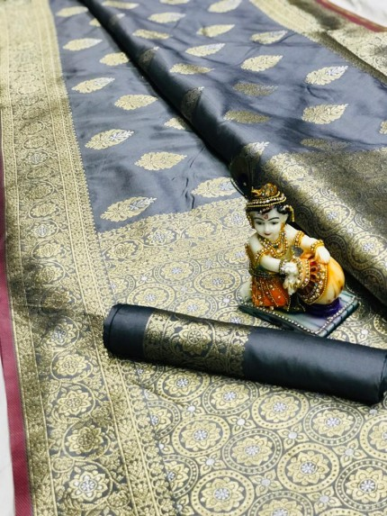 Grey Super Soft Banarasi Silk Saree With Weaving Gold Jari - gnp009663