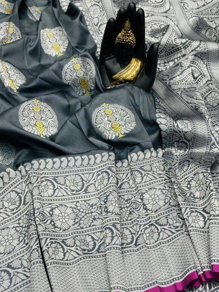 Grey Banarasi Silk Weaving Jacquard Saree With Rich Pallu - gnp009533