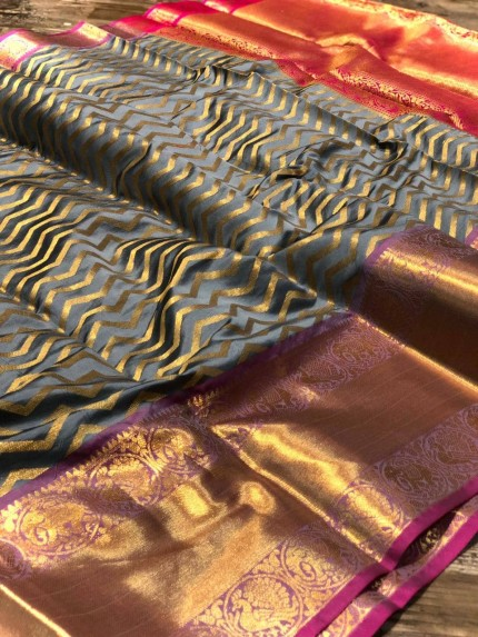 Grey Banarasi Silk With Zari Work Saree - gnp009005