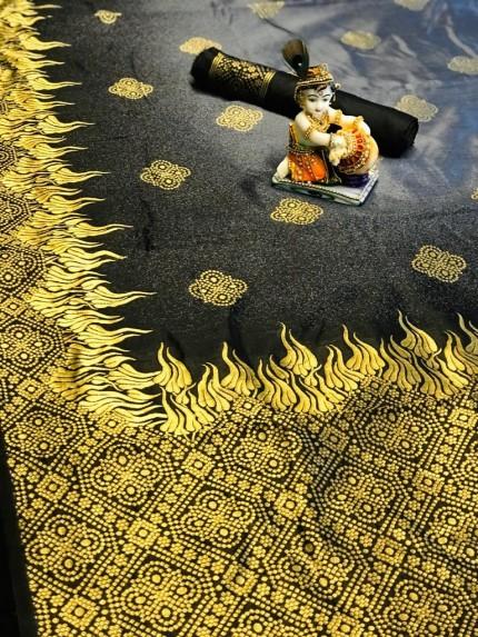 Grey Handloom Ikkat Silk Zari Weaving Saree - gnp009951