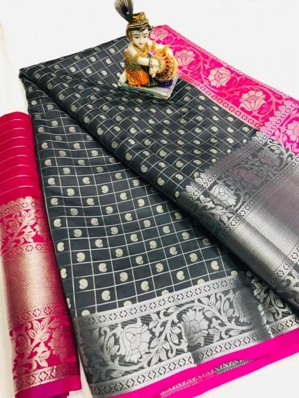 Grey Pure Silk Weaving with Chex Style and heavy Koyari Design - gnp009929