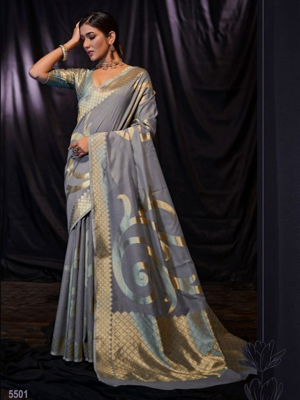 Grey Soft Modal Cotton with Designer Weaving Saree - gnp0108877