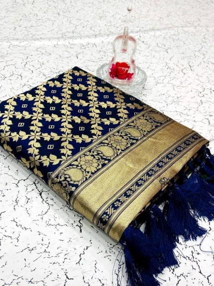 Heavy Blue Banarasi weaving Silk Saree