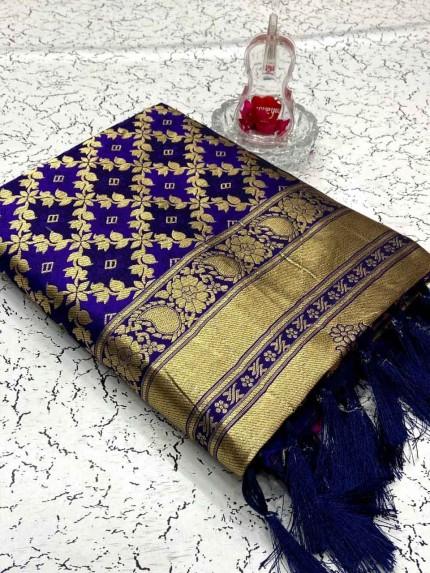 Heavy Purple Banarasi weaving Silk Saree
