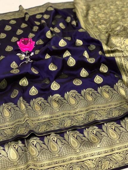 Banarasi Soft Silk Saree in Blue