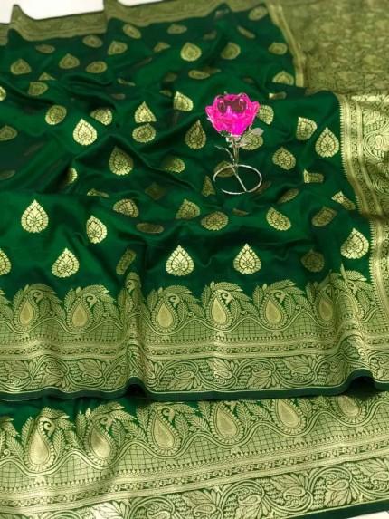 impressive Banarasi Soft Silk Saree in Green