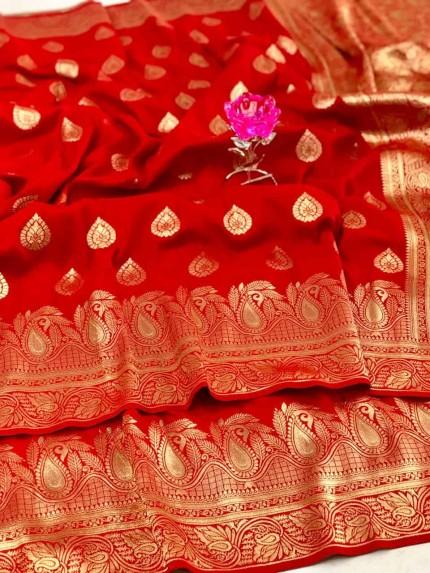 Banarasi Soft Silk Saree in Red