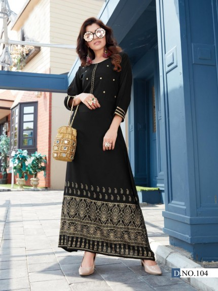 Latest Black Foil and Mirror hand Work long kurti