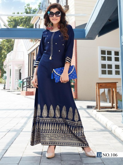 Latest Blue Foil and Mirror hand Work long kurti