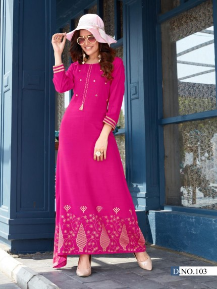 Latest Pink Foil and Mirror hand Work long kurti