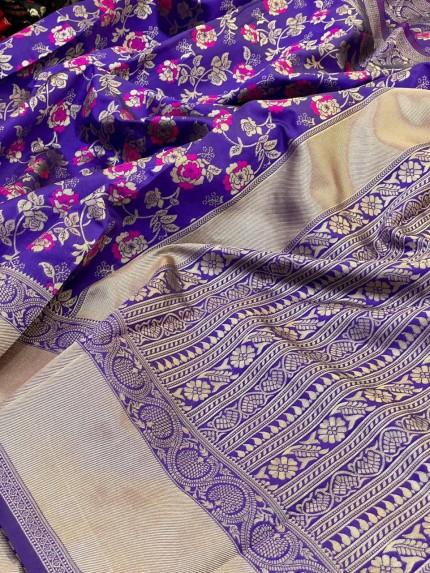 Purple color Silk woven saree online india