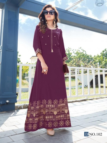 Latest Purple Foil and Mirror hand Work long kurti