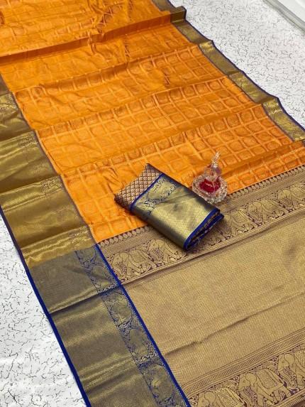 Orange Blue combination silk saree