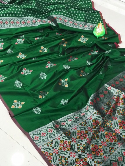 lichi silk with weaving silver zari work saree in Green by grabandpack
