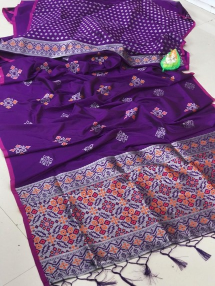 lichi silk with weaving silver zari work saree in Purple by grabandpack