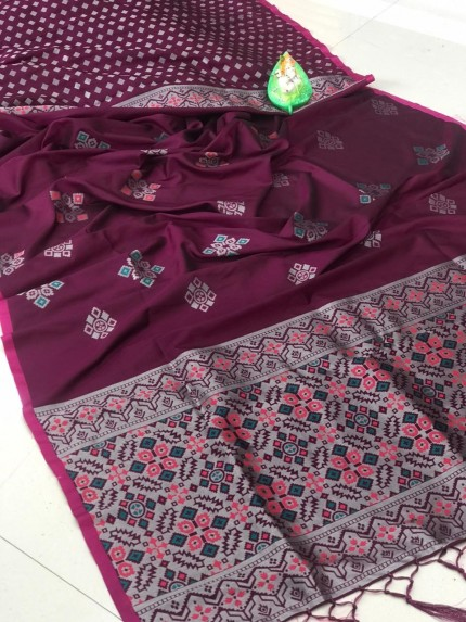 lichi silk with weaving silver zari work saree inPurple by grabandpack