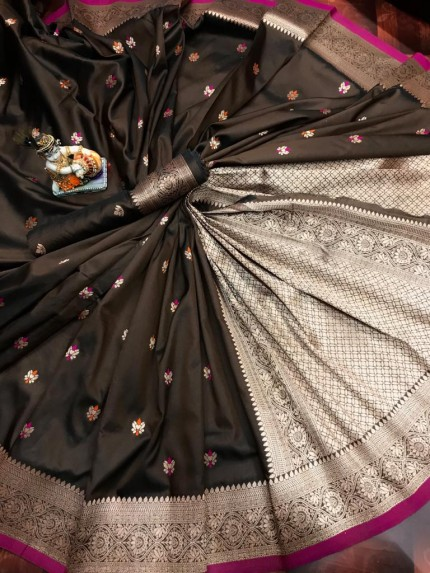 Lovely Brown Lichi Silk Traditional Saree