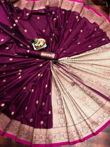 Lovely Magenta Lichi Silk Traditional Saree