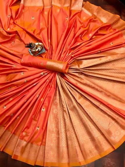 Lovely Orange Lichi Silk Traditional Saree