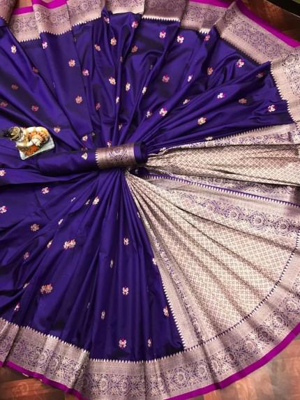 Lovely Purple Lichi Silk Traditional Saree