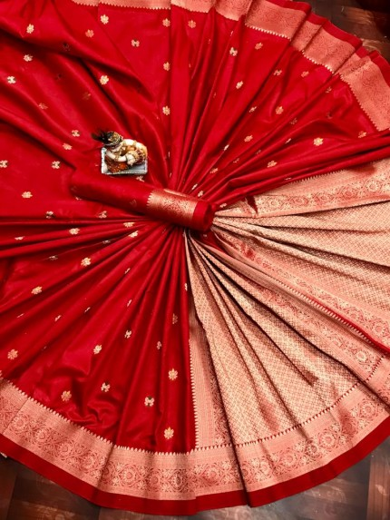 Lovely Red Lichi Silk Traditional Saree