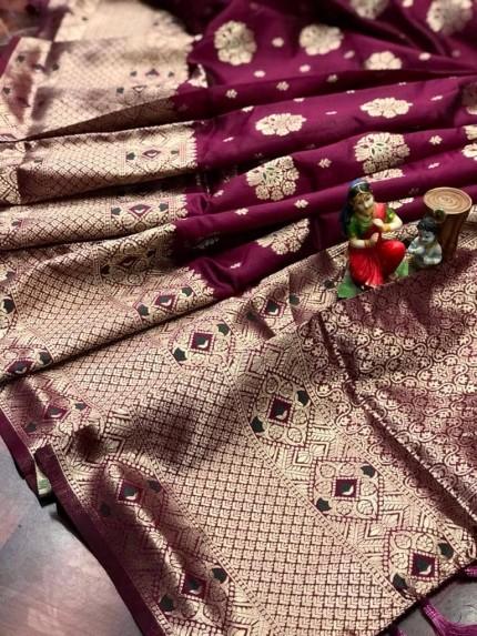 magenta Attractive Soft Banarasi Silk Saree