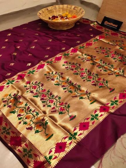 GrabandPack magenta Soft Paithani Silk Party wear Saree