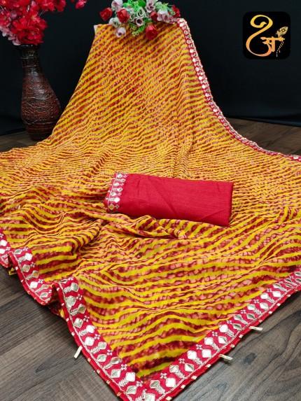 Bandhani Printed Georgette Maroon saree at grabandpack
