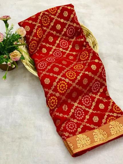 Stylish Maroond Marble Chiffon saree
