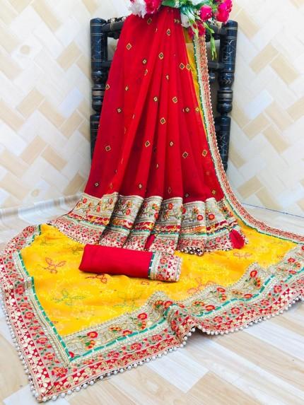 GrabandPack women's party wear Georgette bandhani saree