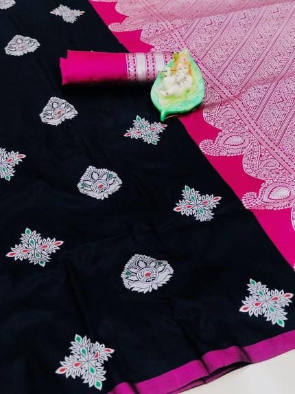 Marvellous Black Party Wear Wear Lichi Silk Saree grabandpack