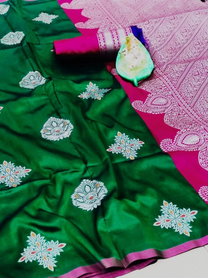 Green Party Wear Wear Lichi Silk Saree grabandpack