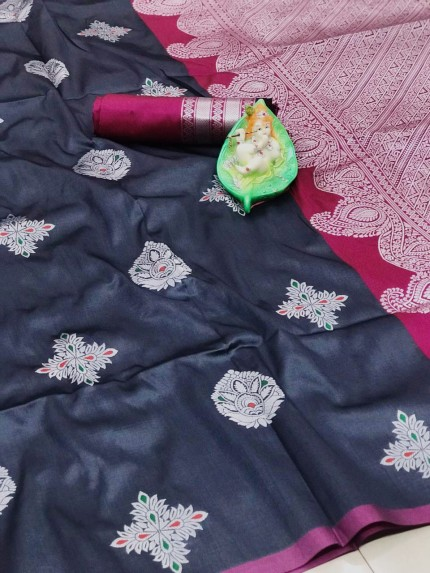 Grey Party Wear Wear Lichi Silk Saree grabandpack