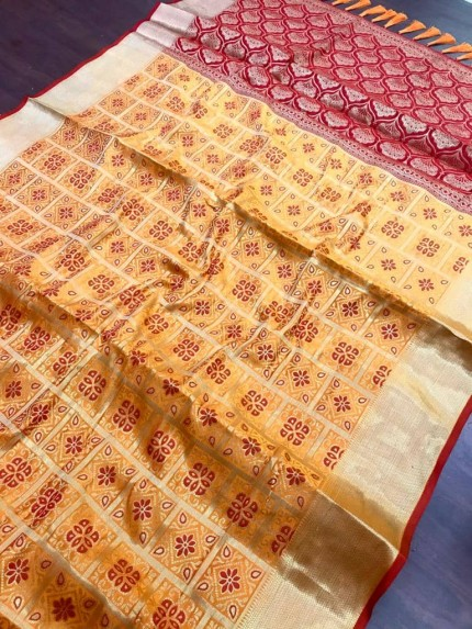 mustard soft Banarasi Patola silk Saree at grabandpack