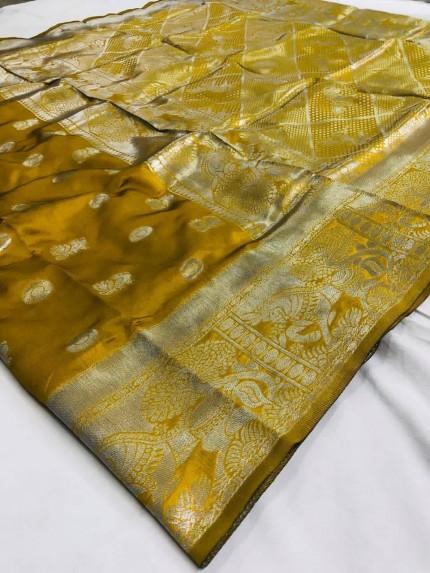 Printed Woven silk saree (mustard)