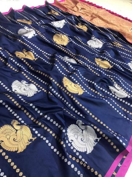 Navy Blue coloured Soft silk saree