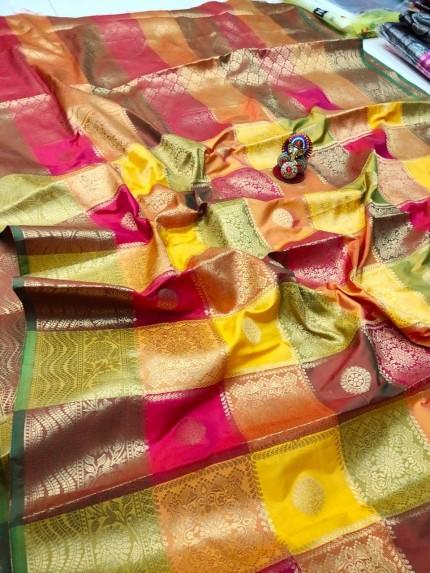 New box Design Kanchipuram soft lichi silk Saree by grabandpack